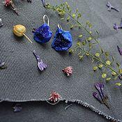 Украшения handmade. Livemaster - original item Earrings with chopped kidney azurite. Blue earrings in sterling silver. Handmade.