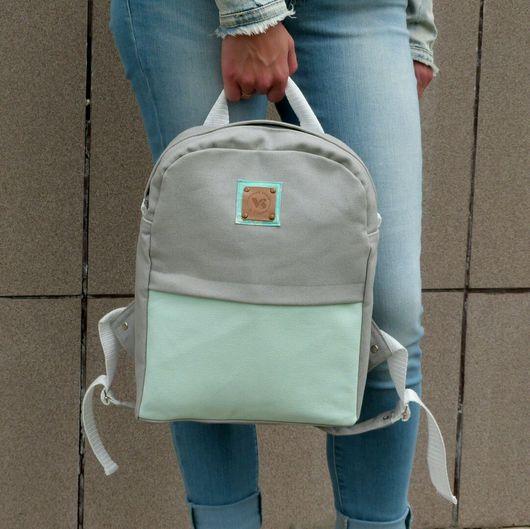 """Рюкзаки ручной работы. Ярмарка Мастеров - ручная работа. Купить Рюкзак"""" Серый с привкусом мяты"""". Handmade. Рюкзак, рюкзак из ткани"""