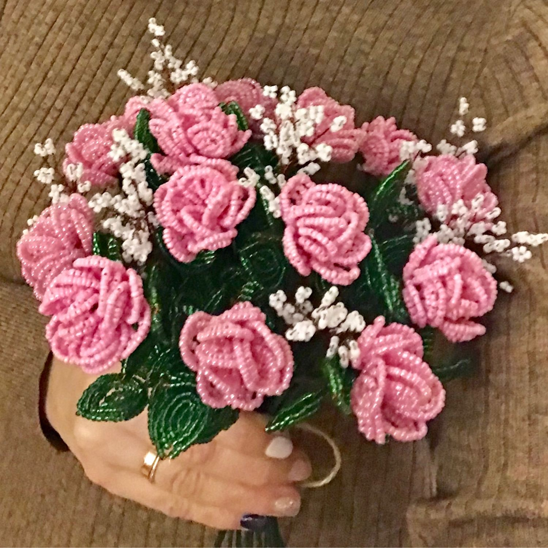 агентам очень красивый букет роз из бисера нем твои