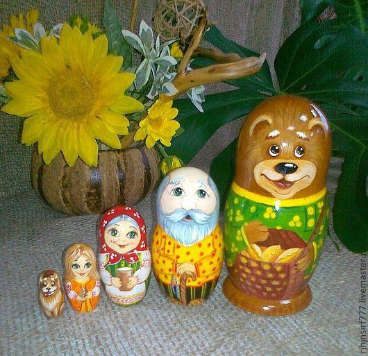 Matryochka Dolls handmade. Livemaster - handmade. Buy Matryoshka fairy tale Masha and the bear 5 seats.Yellow