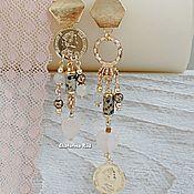 handmade. Livemaster - original item Beautiful BOHO - chic earrings with rose quartz