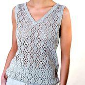 Одежда handmade. Livemaster - original item 100% linen Women`s fishnet tank top. Handmade.
