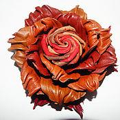 """Украшения ручной работы. Ярмарка Мастеров - ручная работа брошь из кожи""""Скоро осень"""" украшение. Handmade."""