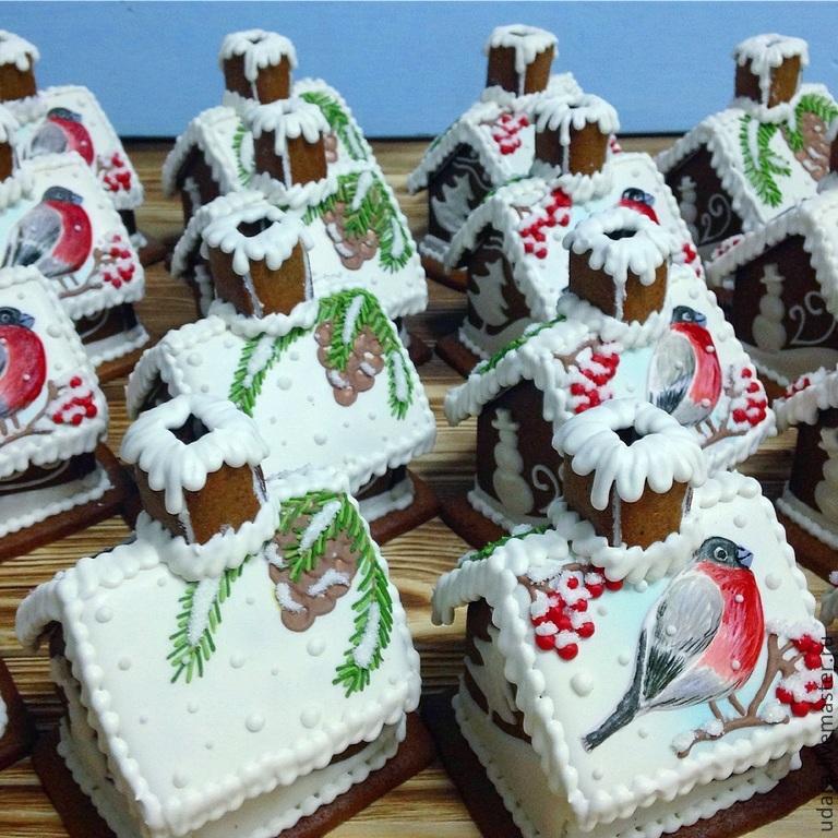 Мини - Пряничный домик со снегирем, Пряники, Москва, Фото №1