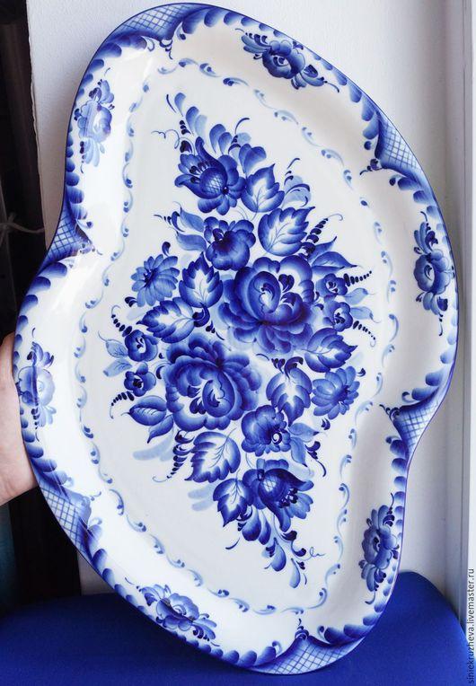 """Тарелки ручной работы. Ярмарка Мастеров - ручная работа. Купить Блюдо большое """"Весна"""", гжель, авторская работа. Handmade. Синий"""