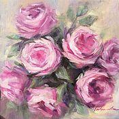 Картины и панно handmade. Livemaster - original item Oil painting Pink rose painting. Handmade.