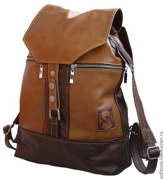Рюкзаки ручной работы. Ярмарка Мастеров - ручная работа. Купить Рюкзак кожаный  маленький Темно-песочный с коричневым. Handmade.