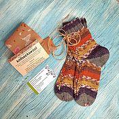 Аксессуары handmade. Livemaster - original item Socks striped, openwork women`s knitted socks, with patterns house. Handmade.