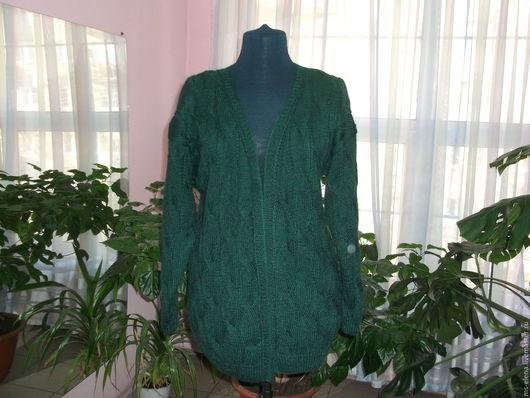 """Кофты и свитера ручной работы. Ярмарка Мастеров - ручная работа. Купить Кардиган """" Изумруд """". Handmade. Тёмно-зелёный"""
