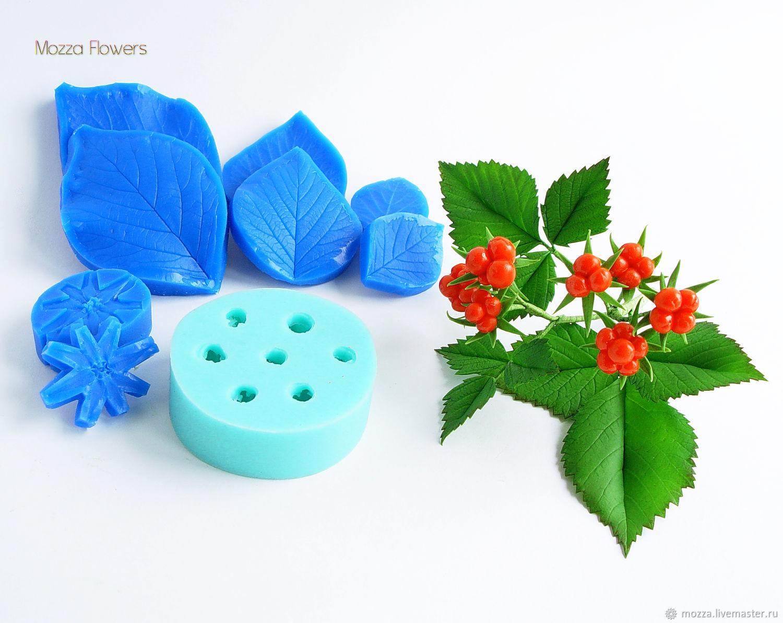 'Stone bramble berries, leaf and calyx' silicone molds for making flowers, Molds for making flowers, Zarechny,  Фото №1