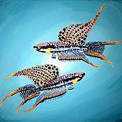 """Картины ручной работы. Ярмарка Мастеров - ручная работа Картина маслом : """" Яркие мгновения под водой """". 45 х 50 см.. Handmade."""