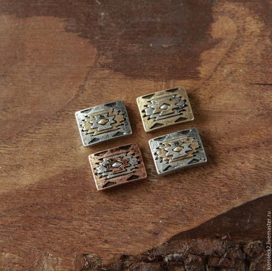 Для украшений ручной работы. Ярмарка Мастеров - ручная работа. Купить Латунные прямоугольные бусины-слайдеры с ацтекским орнаментом, 14 мм. Handmade.