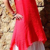 Одежда handmade. Livemaster - original item Dress coral from light. crinkled viscose.consists of two parts. Handmade.