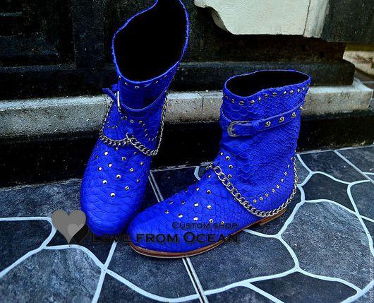 Обувь ручной работы. Ярмарка Мастеров - ручная работа. Купить Ботинки (обувь) из натуральной кожи питона. Handmade. Разноцветный