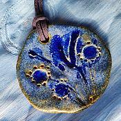 Подвеска ручной работы. Ярмарка Мастеров - ручная работа Керамические кулоны Синие цветы. Handmade.