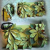 Сумки и аксессуары ручной работы. Ярмарка Мастеров - ручная работа Клатч кожаный с листьями. Handmade.