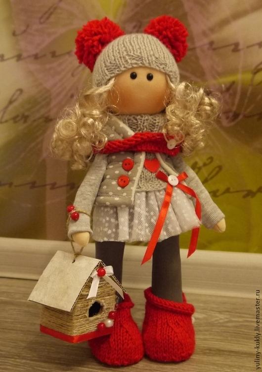 Коллекционные куклы ручной работы. Ярмарка Мастеров - ручная работа. Купить Текстильная куколка Варенька. Handmade. Ярко-красный, скворечник