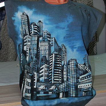 """Одежда ручной работы. Ярмарка Мастеров - ручная работа Рубашка поло """"Современный город"""". Handmade."""