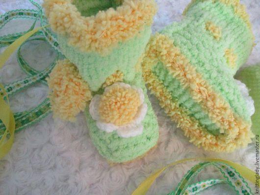 Для новорожденных, ручной работы. Ярмарка Мастеров - ручная работа. Купить Пинетки  вязаные для новорожденных. Пинетки зимние теплые Солнышко. Handmade.