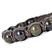 Украшения handmade. Livemaster - original item Shamballa bracelet made of leather with obsidian. Handmade.