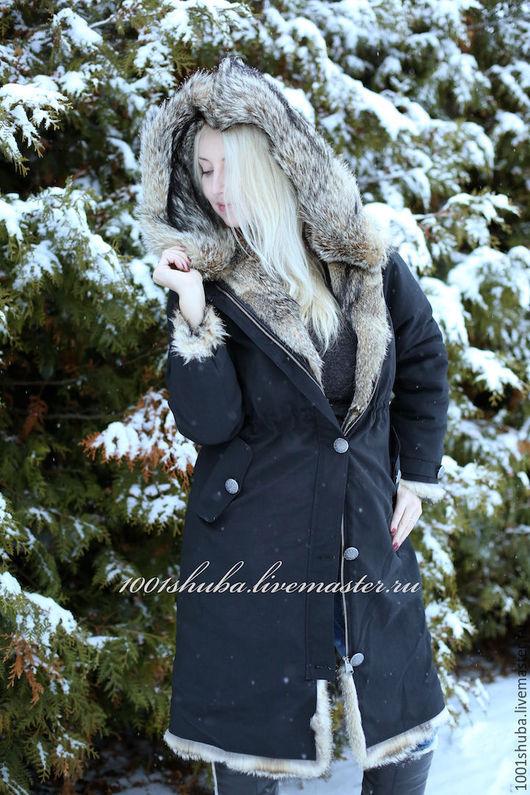 Парка женская , в черном цвете , с мехом канадской лисы, верх: плотная , не продуваемая, ткань, водоотталкивающая, износостойкая. Внутри куртка полностью из меха , меховой капюшон расстегивается