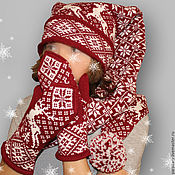 Аксессуары ручной работы. Ярмарка Мастеров - ручная работа Шапка-шарф-колпак Норвегия шерсть. Handmade.