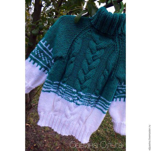 Одежда унисекс ручной работы. Ярмарка Мастеров - ручная работа. Купить Мягкий теплый свитер.. Handmade. Зеленый, лало, свитер