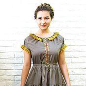 Одежда handmade. Livemaster - original item Dress in floor summer dress with embroidery, boho, cotton. Handmade.