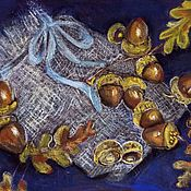 """Картины ручной работы. Ярмарка Мастеров - ручная работа Картина """"Желуди"""". Пастель. 22/27см.. Handmade."""