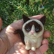 Украшения ручной работы. Ярмарка Мастеров - ручная работа Брошь кот Грампи (Grumpy Cat) Гремпи. Handmade.
