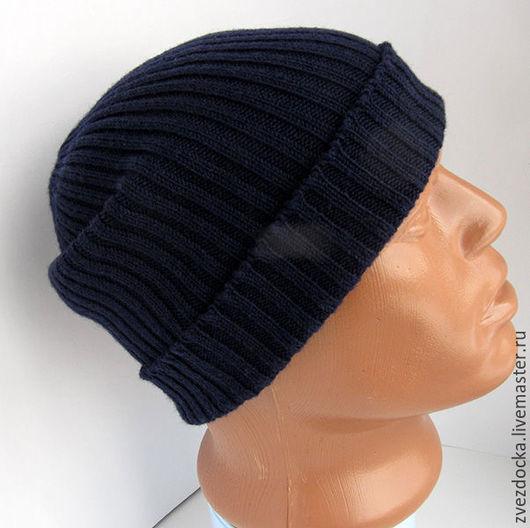 """Шапки ручной работы. Ярмарка Мастеров - ручная работа. Купить шапка мужская """"Line"""" темно-синяя. Handmade. Тёмно-синий"""