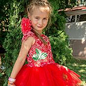 Работы для детей, ручной работы. Ярмарка Мастеров - ручная работа Платье летнее вязаное крючком девочке Аленький цветочек красное купить. Handmade.