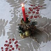"""Для дома и интерьера ручной работы. Ярмарка Мастеров - ручная работа Скатерть """"Кисть рябины"""" скатерть скатерть  новогодняя скатерть. Handmade."""