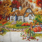 Картины и панно handmade. Livemaster - original item The picture is embroidered with beads Golden autumn.sunset. Handmade.
