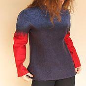 """Одежда ручной работы. Ярмарка Мастеров - ручная работа """"RedBlue"""" войлочный свитер. Handmade."""