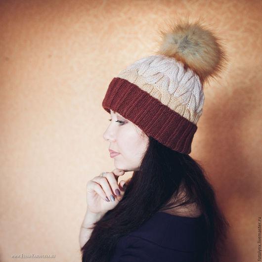 Шапки ручной работы. Ярмарка Мастеров - ручная работа. Купить (+скидка 25%) Рыже-коричневая шапка с косами и помпоном. Handmade.