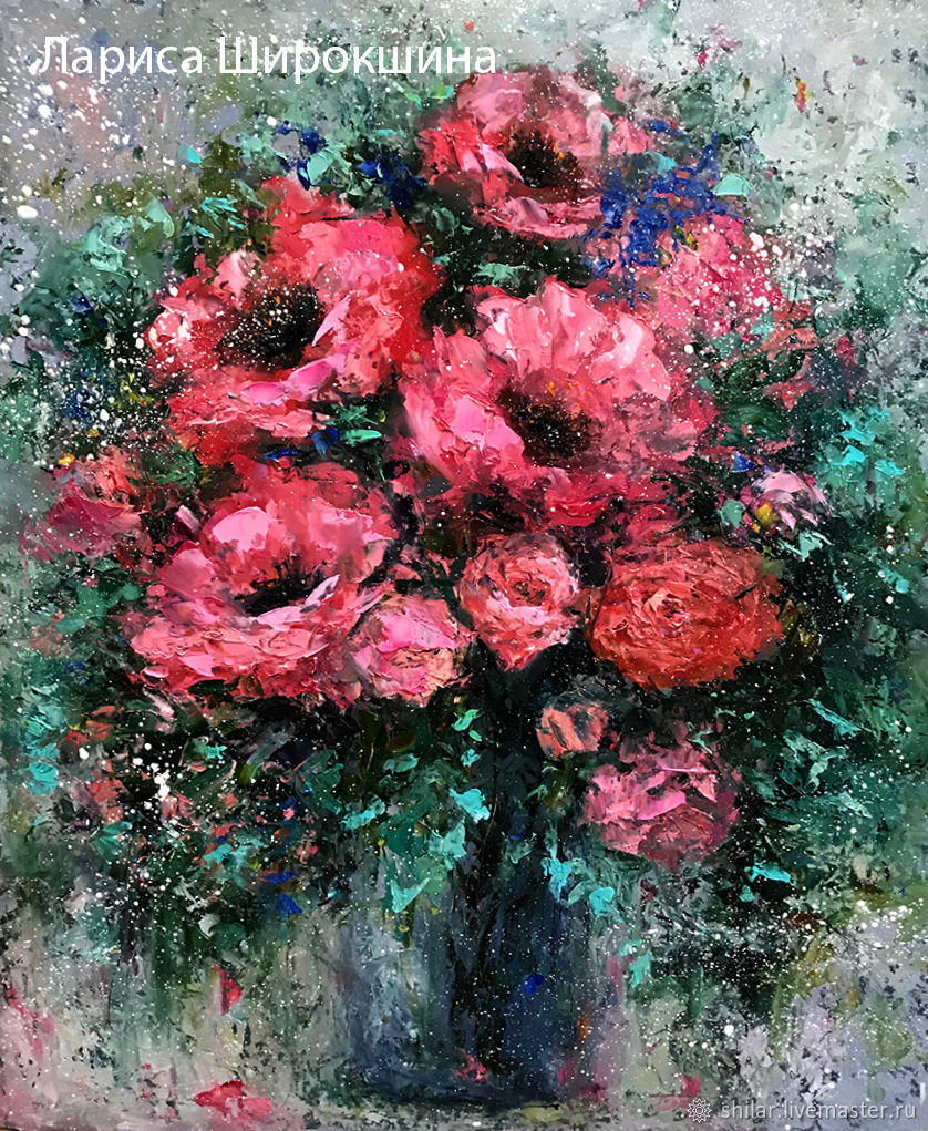 Painting pink poppies in a vase 'Pink poppies' oil painting, Pictures, Asha,  Фото №1