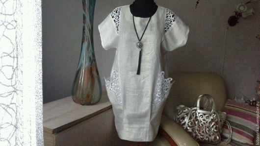 Платья ручной работы. Ярмарка Мастеров - ручная работа. Купить льняное платье  Бохо узор. Handmade. Белый, натуральная ткань