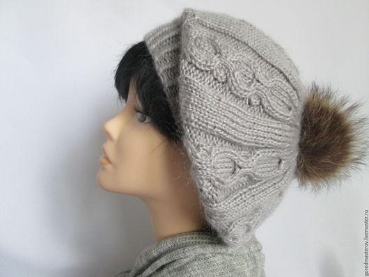 Береты ручной работы. Ярмарка Мастеров - ручная работа. Купить Берет серый с помпоном ,берет шапка из ангоры файн. Handmade.