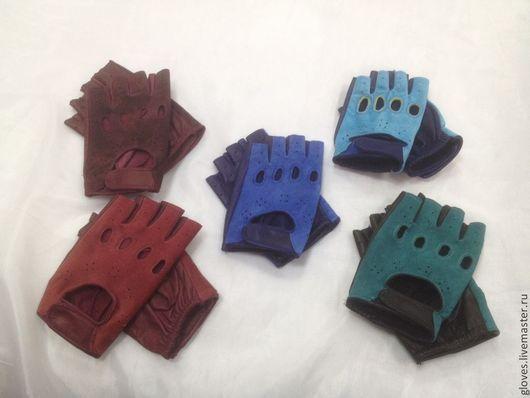 Варежки, митенки, перчатки ручной работы. Ярмарка Мастеров - ручная работа. Купить Митенки женские кожаные классические замшевые. Handmade.