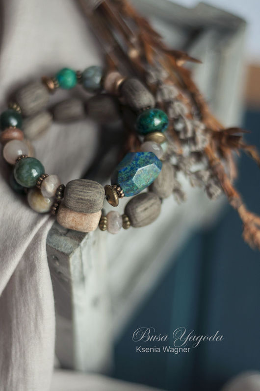 """Браслеты ручной работы. Ярмарка Мастеров - ручная работа. Купить Комплект браслетов """"Карельский лес"""". Handmade. Морская волна, изумрудный"""