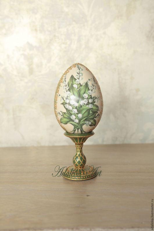 Яйца ручной работы. Ярмарка Мастеров - ручная работа. Купить ПАСХАЛЬНЫЙ СУВЕНИР. Яйцо Ландыши. Handmade. Зеленый, яйцо на подставке