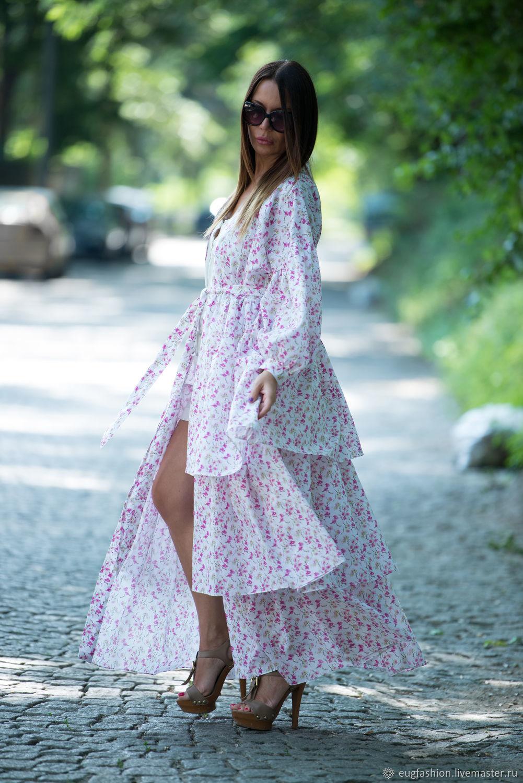 Длинное платье-рубашка, Модное платье, Платье с воланами, Платье в цветочек, Платье макси, Ярмарка Мастеров