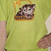 """Кофты ручной работы. Ярмарка Мастеров - ручная работа Кофточка для девочки с вышивкой """"Котенок"""". Handmade."""