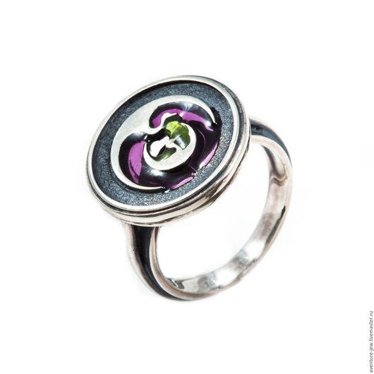 Кольца ручной работы. Ярмарка Мастеров - ручная работа. Купить Кольцо серебро и эмаль Журавлики. Handmade. Комбинированный, серьги серебро
