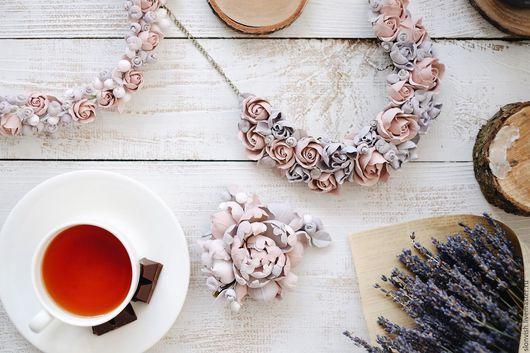 Колье, бусы ручной работы. Ярмарка Мастеров - ручная работа. Купить Колье пудрово-розового цвета с галактическим серым (уникальный дизайн). Handmade.
