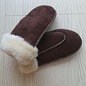 Аксессуары handmade. Livemaster - original item Women`s brown sheepskin mittens. Handmade.