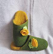 """Тапочки ручной работы. Ярмарка Мастеров - ручная работа Тапочки валяные """"Желтая роза"""". Handmade."""