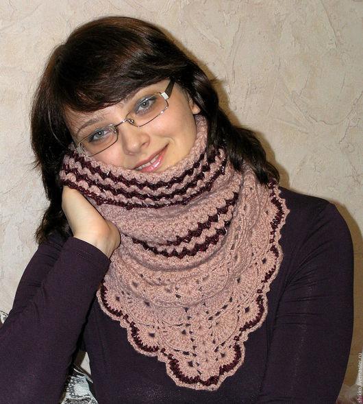 Шарф-снуд-воротник-хомут бежевого цвета. Женский шарф-снуд. Женский воротник-хомут.