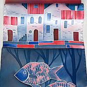 Аксессуары ручной работы. Ярмарка Мастеров - ручная работа Город на воде - шелковый шарф с ручной росписью. Handmade.